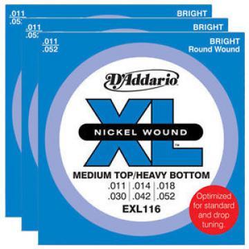 D'Addario EXL116 Nickel Wound, Medium Top/Heavy Bottom Strings, 11-52 (3 SETS)