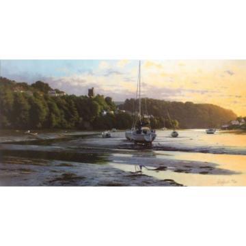 "PETER SYMONDS ""Eventide"" estuary boats SIGNED LTD ED! SIZE:49cm x 82cm NEW RARE"