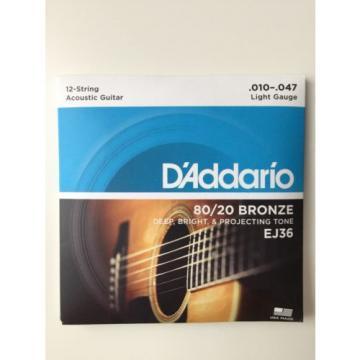 D'Addario EJ36 80/20 12 String Bronze Acoustic Guitar Strings Light 10-47