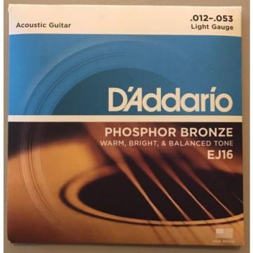 D'Addario EJ16 Phosphor Bronze Light Gauge Acoustic Guitar Strings 12 - 53
