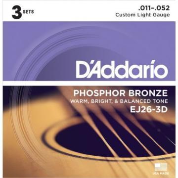 D'ADDARIO GUITAR STRINGS EJ26-3D PHOSPHOR BRONZE 11-52 ACOUSTIC CUSTOM LT 3 PACK