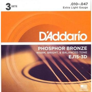 EJ15-3D D'Addario Acoustic Guitar Strings (3 Set Pack), Extra Light Gauge 10-47