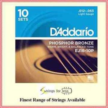 D'Addario EJ16 Phosphor Bronze Light Acoustic Guitar Strings 10-Pack 12 - 53