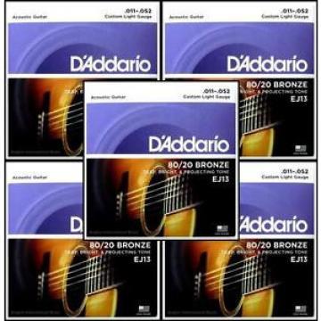5 X D'Addario EJ13  80/20 Bronze Custom Light Acoustic Guitar Strings 11 - 52