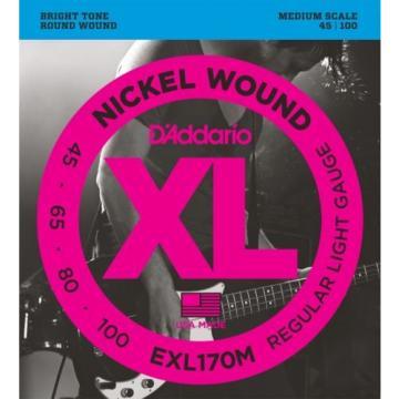 D'Addario EXL170M Nickel Wound Medium Scale Medium Bass... (4-pack) Value Bundle