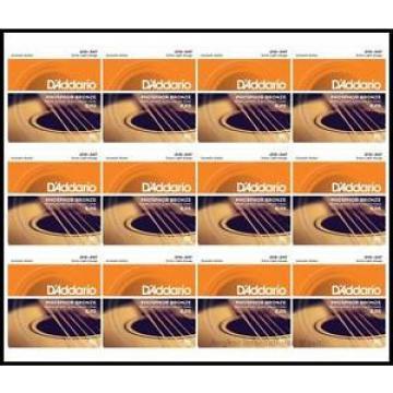 12 x D'Addario EJ15 Phosphor Bronze Extra Light Acoustic Guitar Strings 10 - 47