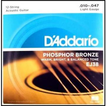 D'Addario EJ38 12-String Phosphor Bronze Light Acoustic Guitar Strings 10 - 47