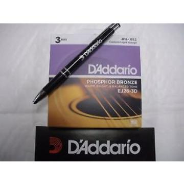 D'Addario 3 sets of acoustic guitar strings11 to 52 gauge Plus a free pen promo
