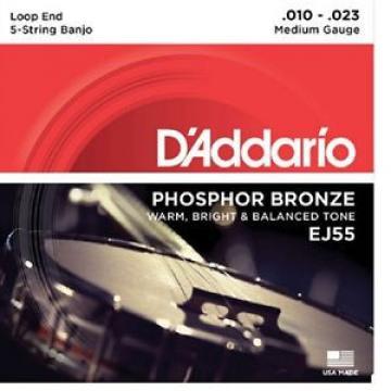 5 Sets D'Addario EJ55 5 String Banjo Philosopher Bronze Medium 10-23 j55
