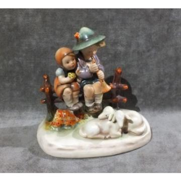 """Hummel Girl and Boy w Flute Eventide 5"""" # 99 West Germany Figurine Bee H1"""