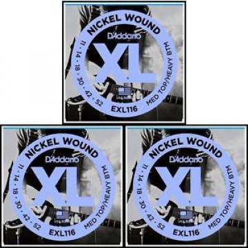D'Addario EXL116 3 Sets Medium Top / Hvy Bottom  Electric Guitar Strings 11 - 52