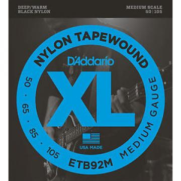 D'Addario ETB92M NYLON TAPEWOUND BASS STRINGS, MEDIUM SCALE 4's - 50-105