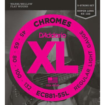 D'Addario ECB81-5SL FLATWOUND BASS STRINGS - SUPER LONG SCALE, MED. 5's 45-132