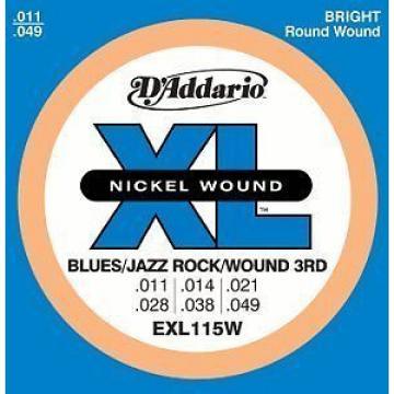 D'Addario EXL115W 11-49 Blues/Jazz Rock/Wound 3rd Elec Guitar Strings New /