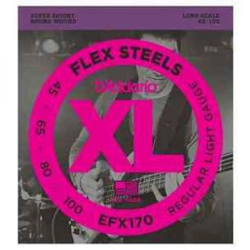 D'Addario EFX170 Flex Steels Super Punchy Bass Strings. Gauge: 45-100