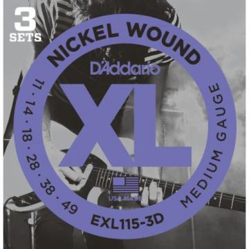 D'Addario EXL115-3D XL Electric Guitar Strings Blues/Jazz Rock 11-49 3 Pack