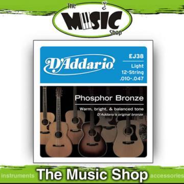 D'Addario EJ38 Phosphor Bz 10-47 12 String Acoustic Guitar Strings - Light