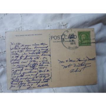 Mesick Mi Mich Michigan- Greetings, eventide  on lake, early postcard  1935
