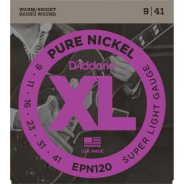 10 Sets D'Addario EPN120 Pure Nickel Super Light 9-41 Electric Guitar Strings