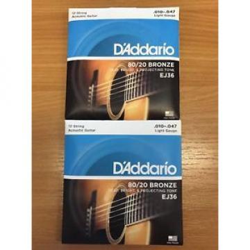 2 x D'addario EJ36 80/20 12-String Acoustic Guitar Strings Light Gauge 10-47