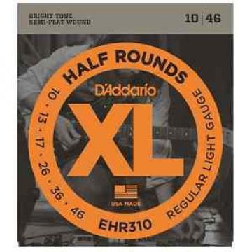 D'Addario EHR310 Half Rounds Semi Flatwound Elec. Guitar Strings. Gauge: 10-46