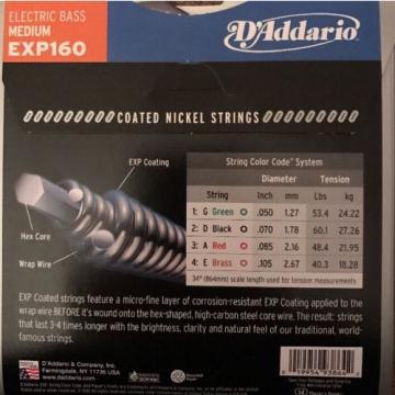 D'addario EXP160 Coated Nickel Long Scale Bass Strings Medium 50-105