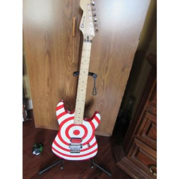Charvel-Like Red and White Bullseye Guitar with hard shell case
