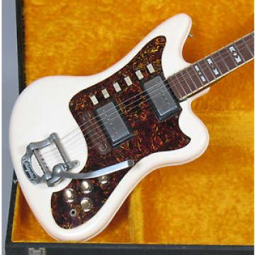1966 Supro Arlington Res-O-Glass Guitar S655 White Bigsby with Case