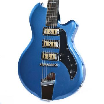 Supro Hampton 2030BM Electric Guitar Ocean Blue Metallic solid triple PU