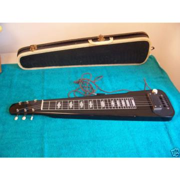 1956 Supro Valco made Lap steel guitar 6 string w/case Rare Black color VGC