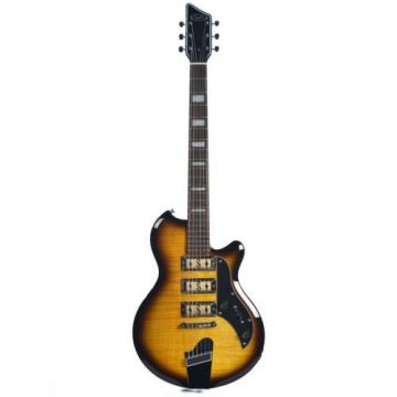 Supro Hampton 2030TS Electric Guitar Flame Maple Tobacco Burst solid triple PU