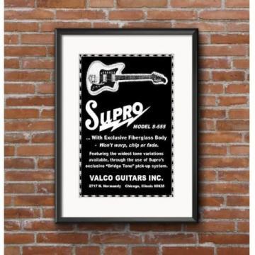 1965 Supro Model S-555 Fiberglass Guitar Promo Poster - Valco Guitars Chicago