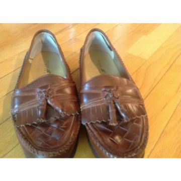 Deer Stags SUPRO Brown Leather Tassel Woven Loafers Slip On Mens 10M