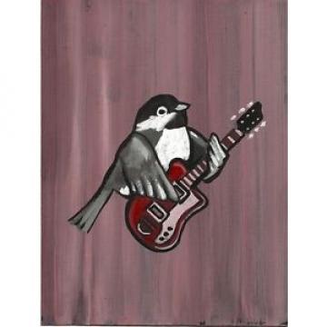 Chickadee Supro Guitar Bird Blues Freak Folk Punk Rock Pop Lowbrow Art Painting