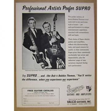 1966 Supro Electric Guitars valco Bob & Bobbie Thomas photo vintage print Ad