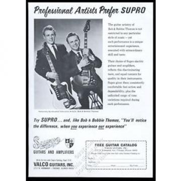 1966 Valco Supro guitar Bob Bobbie Thomas photo vintage print ad