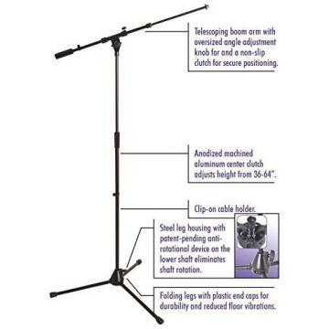 OnStage On Stage MS9701TBPLUS Platinum Series Tele-Boom Microphone Stand