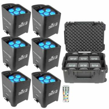 (6) Chauvet DJ Freedom Par Tri-6 D-Fi Wireless Rechargeable LED Pars w SKB Case