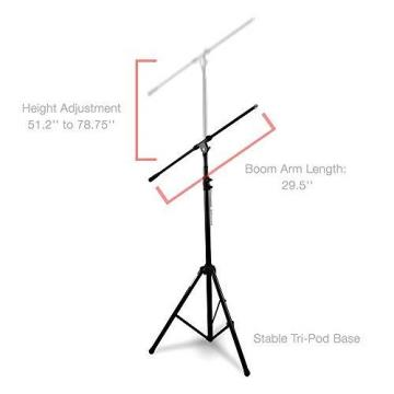 Stand Microphone Boom Mic Arm Tripod Clip Holder Studio Rotating Pyle Pmks56 .