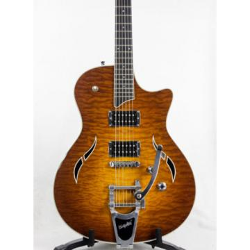 2009 Taylor T3/B Quilted Maple Amber Bigsby Electric Guitar - 10016952