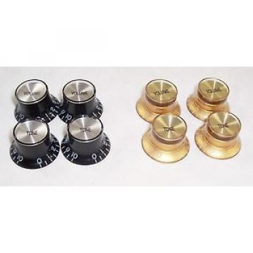 4 X BELL SHAPED TOP HAT SPEED KNOBS FOR GIBSON GUITAR ETC /SILV/GD CAPS