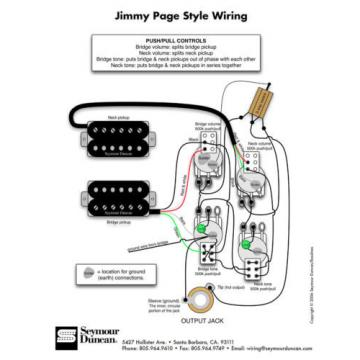 920D Jimmy Page Style Wiring Harness for Les Paul Bourns 500K Long Shaft Pots