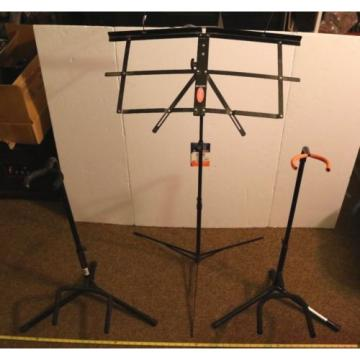 LOT OF 3- USED MUSICAL ITEMS- 2 GUITAR STANDS & 1 SHEET MUSIC STAND ALL TOP QUAL
