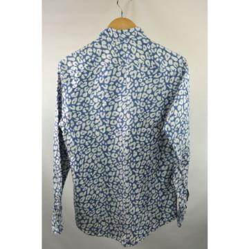Smyth and Gibson Blue and Cream Shirt Size 38 RRP155 P64