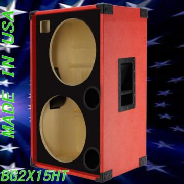 2X15 with Tweeter Empty Bass Guitar Speaker Cabinet Fire Red Tolex BG2X15HTFFRBf