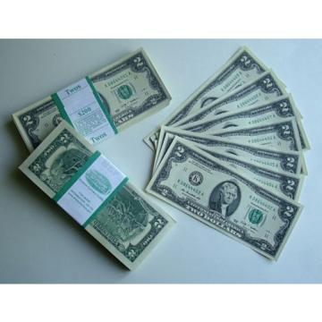 2009  $2 TWO Dollar Bill  set 10  Notes  , UNC
