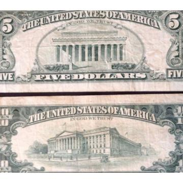 TWO OLD AVERAGE CIRCULATED 1995 $5 & $10 FEDERAL RESERVE NOTES RICHMOND & KANSAS