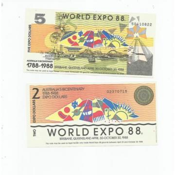 AUSTRALIA  EXPO  88  TWO  NOTES  UNC.