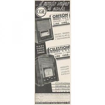 Z3062 Radio C.G.E. Orfeon & Celestion - Pubblicità - 1936 old advertising