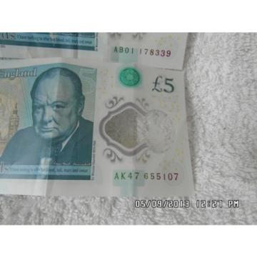 Two Polymer £5 Notes